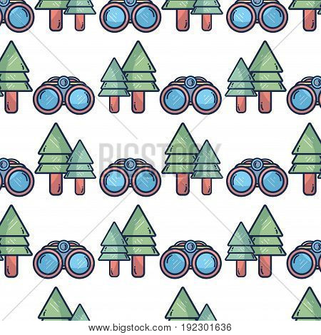 binoculars and pine trees exploration vector illustration