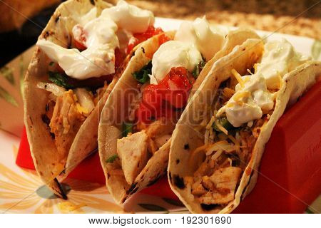 Three Chicken Tacos with Sour Cream, Pico de Gallo