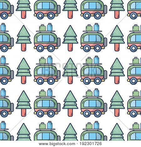 van with bags and pine tree to travel vector illustration