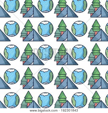 pine trees with earth planet and camp background vector illustration