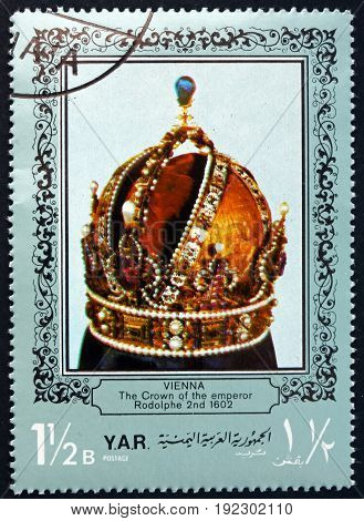 YEMEN - CIRCA 1972: a stamp printed in the Yemen Arab Republic shows the Crown of the Emperor Rodolphe 2nd 1602. Vienna circa 1972