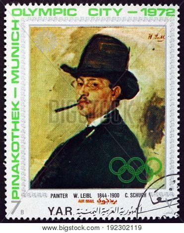 YEMEN - CIRCA 1971: a stamp printed in the Yemen Arab Republic shows Portrait of Carl Schuch Painting by Wilhelm Leibl circa 1971