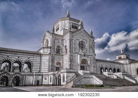 Old historic Monumental Cemetery in Milan (Italy)