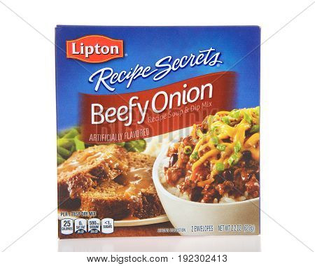 Alameda CA - April 10 2017: One box of Lipton brand Beefy Onion soup mix. Soup and Dip Mix.