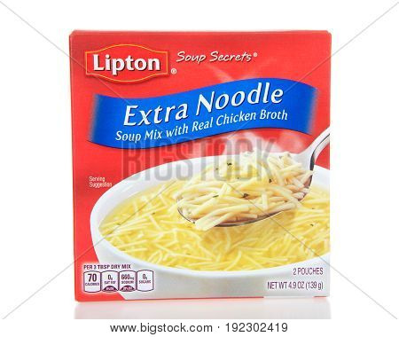 Alameda CA - April 10 2017: One box of Lipton brand Extra Noodle Soup mix with Real Chicken Broth.