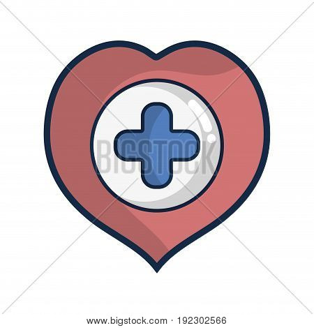 heart with cross symbol inside to helthcare vector illustration