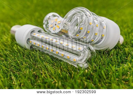 various types of ecological and economical E27 LED bulbs similar shape as CFL lamps in the green grass