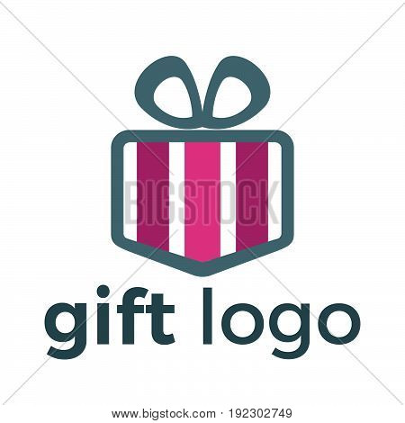 Gift box vector logo design. illustration of gift box present, greeting, surprise. Greeting box or wrap gift box.
