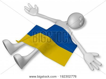 dead cartoon guy and flag of the ukraine - 3d illustration