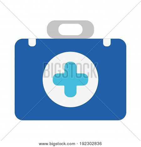briefcase with medical symbol and fist aid kit vector illustration