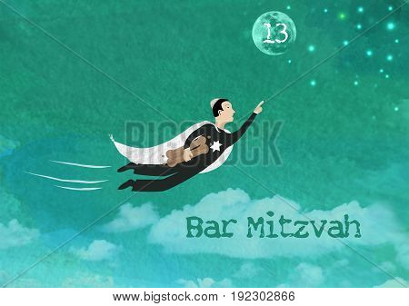 Watercolor Illustration of a Jewish boy flying towards the stars and the moon holding torah scrolls for a Jewish Bar Mitzvah ceremony. Copy space for your own text