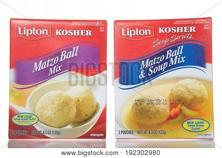 Alameda CA - April 21 2017: Boxes of Lipton brand Matzo Ball mix and Matzo Ball and soup mix. Kosher for Passover and all year round use.