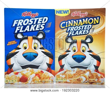 Alameda CA - April 27 2017: Boxes of Kellogg's brand Frosted Flakes cereal. Original and NEW Cinnamon flavor. Kellogg's is an American food manufacturer founded in 1906.