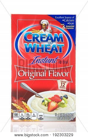 Alameda CA - May 09 2017: One box of Cream of wheat instant cereal a type of breakfast porridge mix made from wheat semolina. It looks similar to grits but is smoother in texture.
