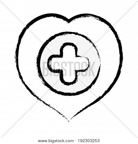 figure heart with cross symbol inside to helthcare vector illustration