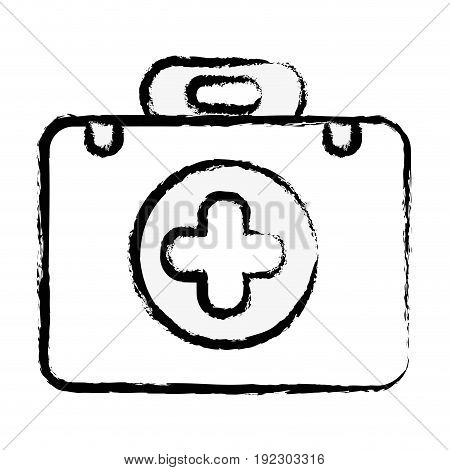 briefcase with medical symbol and fist aid kit background vector illustration