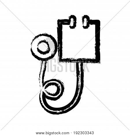 figure medical stethoscope tool and cardiology element vector illustration