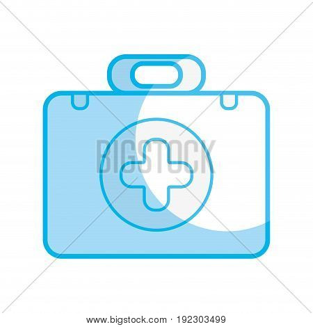 silhouette briefcase with medical symbol and fist aid kit vector illustration