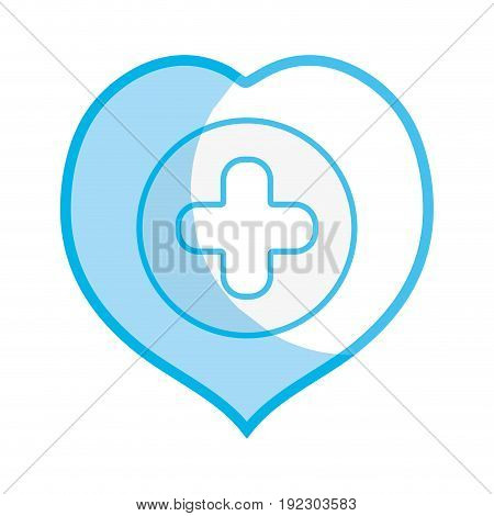 silhouette heart with cross symbol inside to helthcare vector illustration