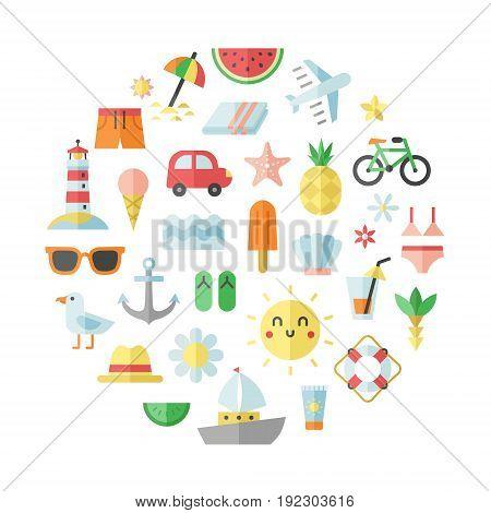 Summer sea and beach flat vector circle illustration.