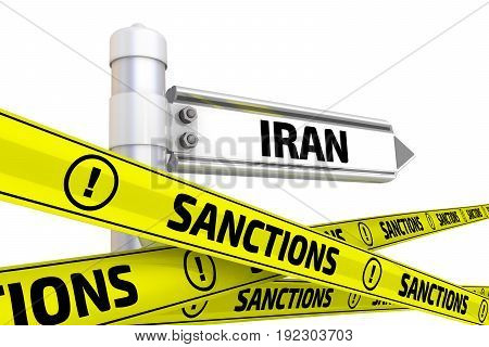 Sanctions against Iran. Street sign with the word