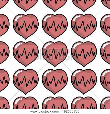 medical heartbeat to cardiac rhythm background vector illustration