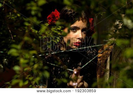 Beauty And Fashion Mosel With Red Lips And Roses In Hair