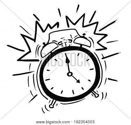 Cartoon vector illustration of classic alarm clock ringing in 5am in the morning