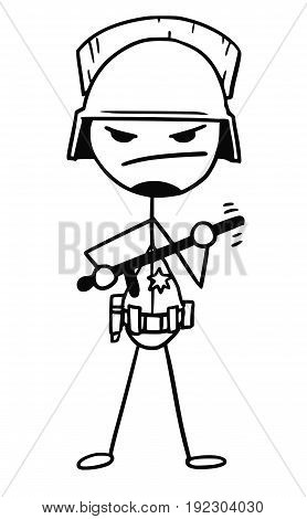 Cartoon vector stickman policeman in threatening pose with heavy helmet and nightstick baton in his hands