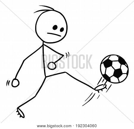 Cartoon vector stickman soccer football player kicking the ball shot on goal or pass