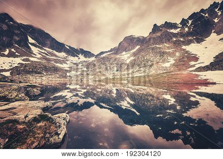 Color Toned Picture Of A Lake In High Tatra Mountains, Slovakia
