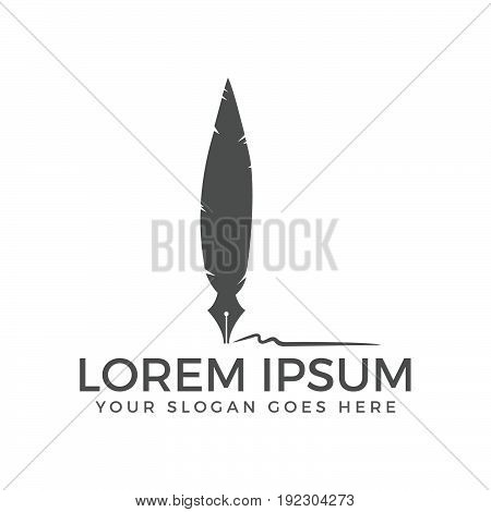 Pen Nib and Feather Logo Vector. Illustration of an ink pen.