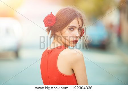 Woman With Red Lips, Makeup On Cute, Young Face