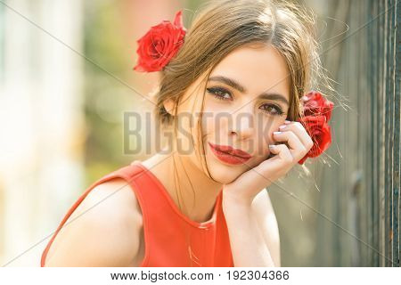 Cute Girl With Red Lips And Roses In Hair