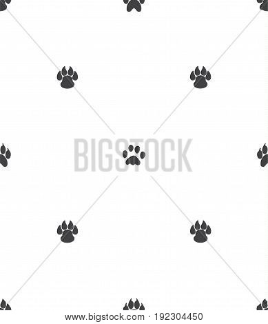 Paw print seamless pattern isolated on white background
