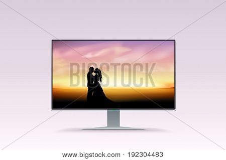 illustration of monitor with beautiful picture of kissing couple at sunset