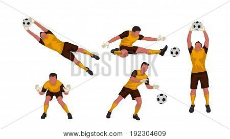 illustration of colored goal keeper in different poses set isolated on white background