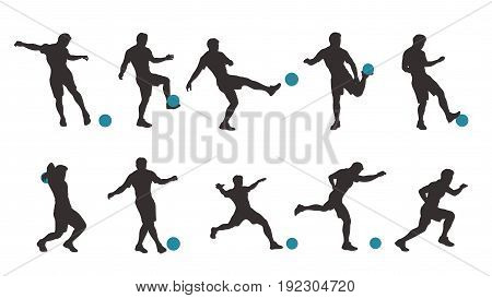 illustration of dark color soccer player set in different poses with blue ball isolated on white background