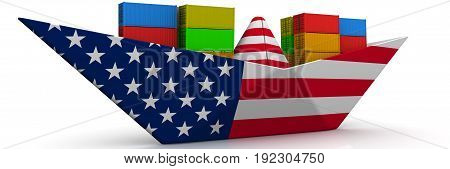 Paper boat from the USA flag with shipping containers on white surface. Isolated. 3D Illustration