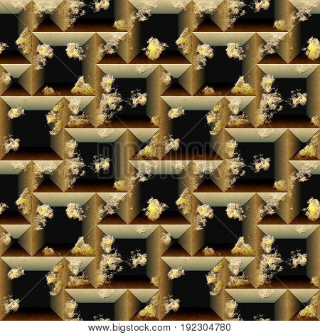 Seamless relief 3d mosaic pattern of scratched black and gold cubes and pyramidal shapes. Gold and black weathered seamless background with grained scratched texture. 3d rendering