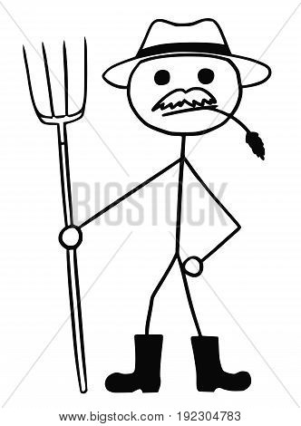 Cartoon vector stickman farmer with fork and hat
