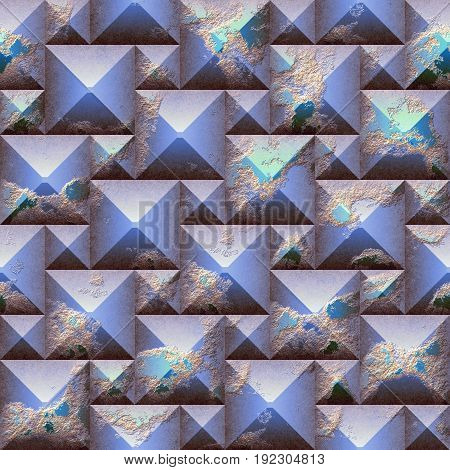 Seamless relief 3d mosaic pattern of scratched blue and orange pyramidal blocks. Blue weathered seamless background with grained scratched texture. 3d rendering