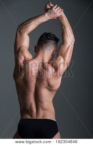 Sexy Man With Muscular Body And Back In Underwear Pants