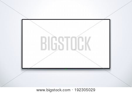 illustration of big flat tv with white color screen with soft shadow on bright wall