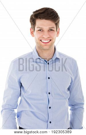 Close-up Of Happy Businessman In Front Of White Background