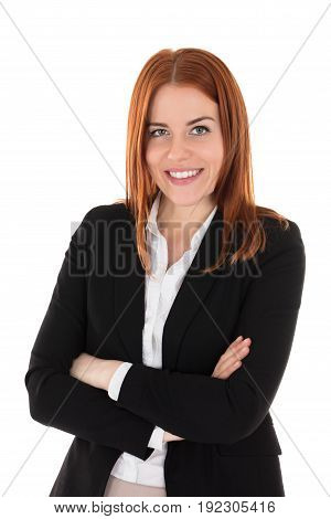 Portrait Of Happy Businesswoman Against White Background