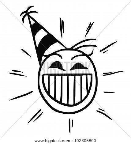Cartoon vector stickman happy head with party hat cap