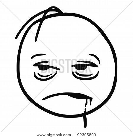 Cartoon vector stickman who is very tired sick sleepy drunken or bored.With saliva going from his mouth. poster