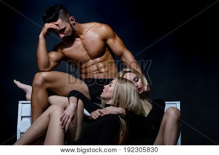 Romance And Love, Muscular Man With Girl And Sexy Woman