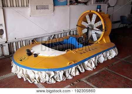 Lee-on-the-solent, Hampshire, Uk - June 10 2017: Self-build Raynet Mini Hovercraft On Display At The